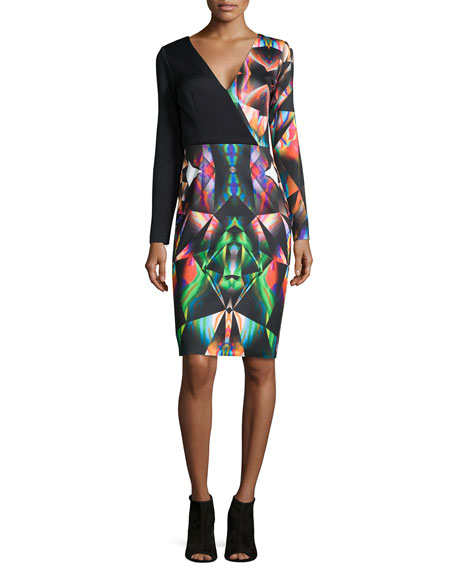 Milly Prism-Print Long-Sleeve Sheath Dress