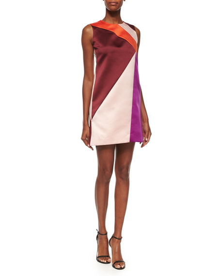 Milly Colorblock Peau De Soie Shift Dress