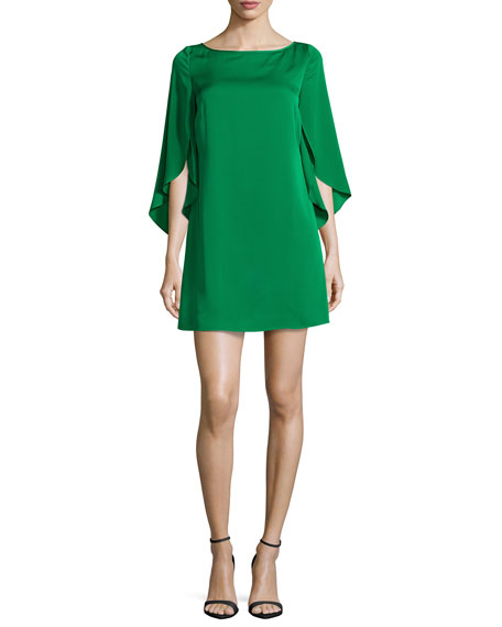 Milly Butterfly-Sleeve Stretch-Silk Dress, Emerald