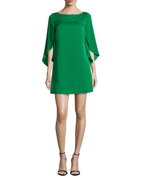 Butterfly-Sleeve Stretch-Silk Dress, Emerald