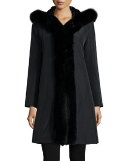 Hooded Reversible Fur-Trim Coat