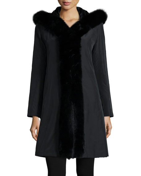 Trilogy Collections by Michael McCollomHooded Reversible Fur-Trim