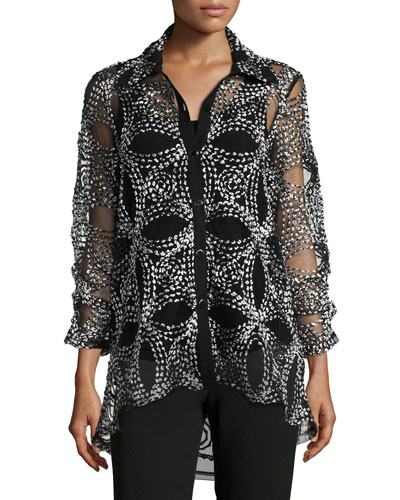 Seeds of Gold Sheer Blouse, Petite
