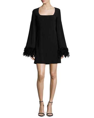 Cape Dress W/ Feather Cuffs