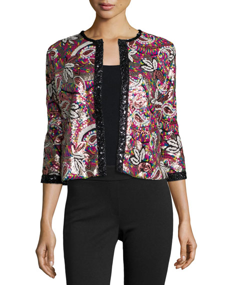 Michael Simon Paisley Sequined Cardigan, Petite