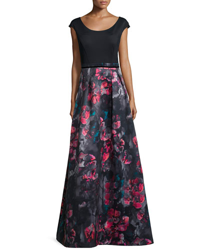 Cap-Sleeve Combo Floral-Print Combo Gown