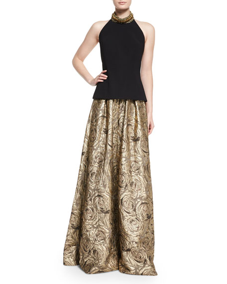 Floral Metallic Jacquard Ball Skirt