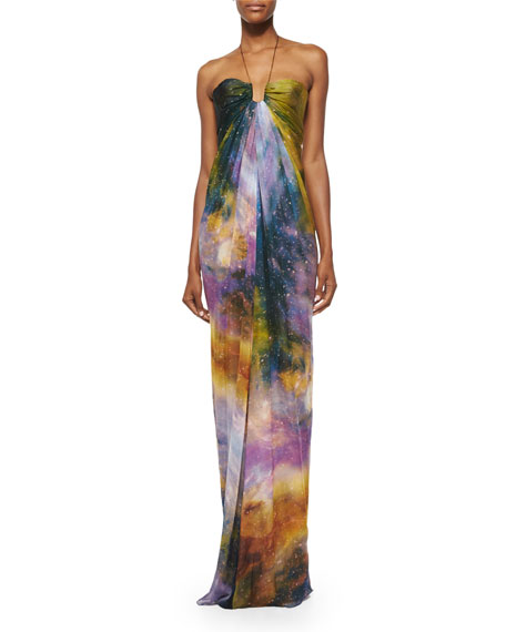 Kaufman Franco Sleeveless Halter-Neck Gown, Multi Colors