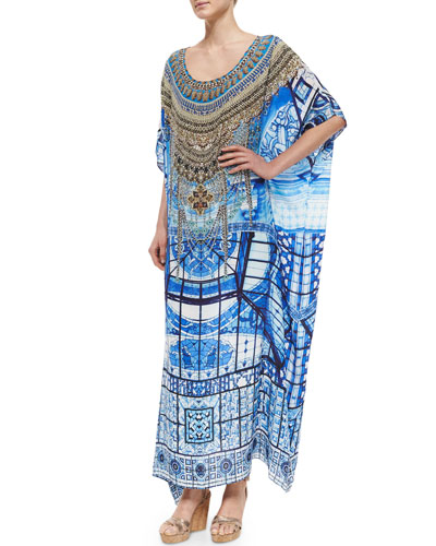 Beaded Printed Crepe Caftan Coverup