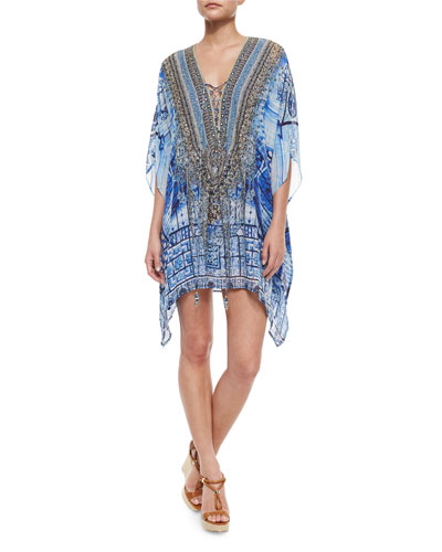 Printed Lace-Up Short Caftan