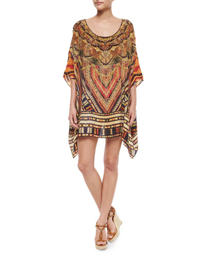 Printed Beaded Round-Neck Caftan