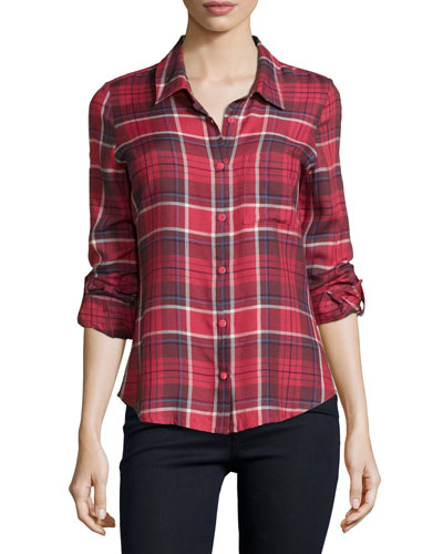 Anabella Plaid Button-Down Top, Garnet Rose