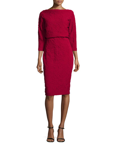 3/4-Sleeve Textured Blouson Dress