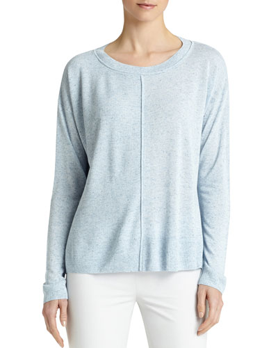 Long-Sleeve Multi-Gauge Sweater, Vista Blue Melange