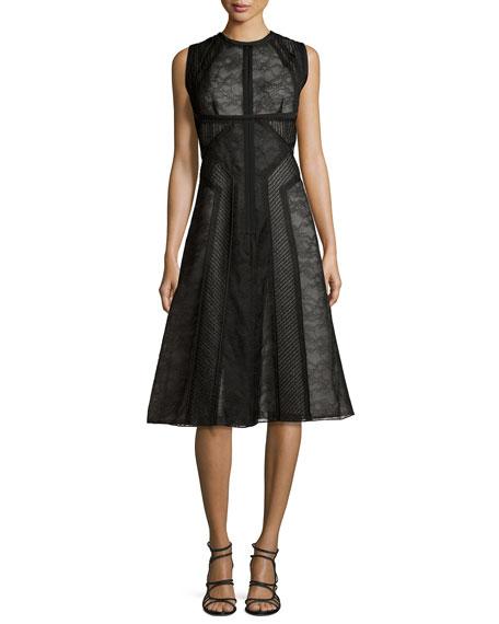 J. Mendel Sleeveless Lace Paneled Dress, Noir/Ecru