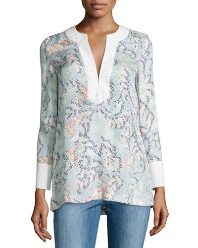 Dahlia Silk Jacquard Tunic