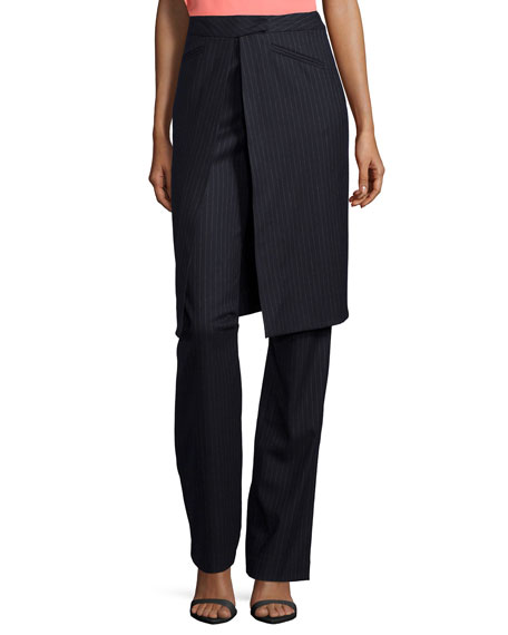 Derek Lam 10 Crosby Pinstripe Wrap Skirt Trousers,