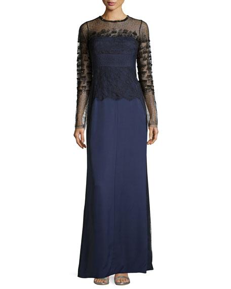 J. Mendel CrepeEmb Long Slv Gown