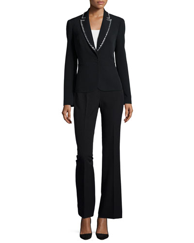 Long-Sleeve Beaded Tuxedo Pant Suit