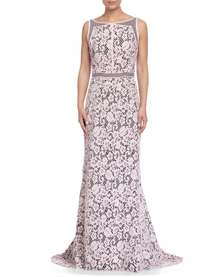 Sleeveless Lace Gown, Rose Clair