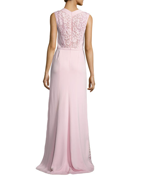 Sleeveless Lace-Inset Gown, Rose Clair