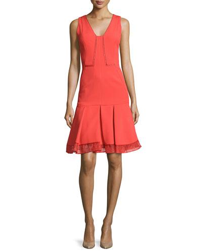 Funnel-Neck Wrap Skirt Dress