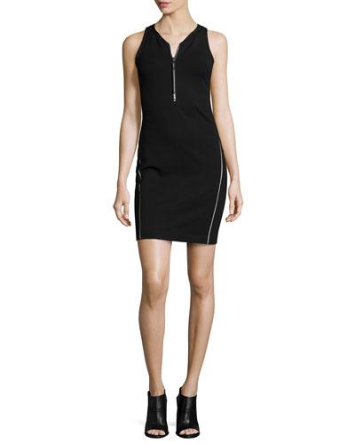 Jada Zip-Front Tank Dress, Black
