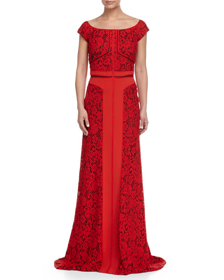 J. Mendel Lace Off Shoulder Gown