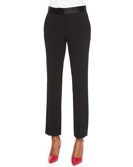 Diane von Furstenberg Genesis Contrast-Trim Ankle Pants, Black