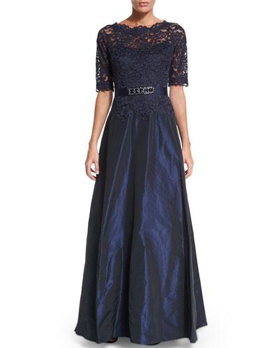 Half-Sleeve Lace-Bodice Taffeta Gown