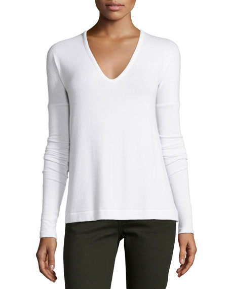Theo Long-Sleeve V-Neck Tee, Bright White