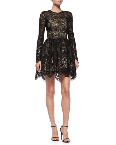 Long-Sleeve Malin Lace A-Line Skirt, Black