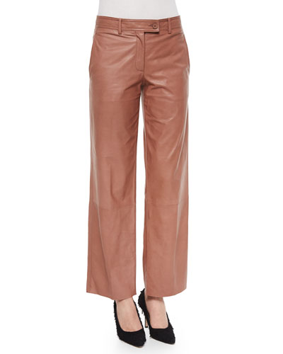 Cropped Wide-Leg Leather Pants