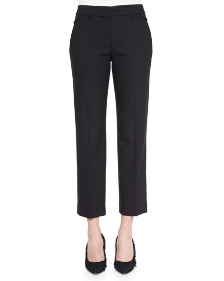 Helmut Lang Cropped Wool-Crepe Dress Pants