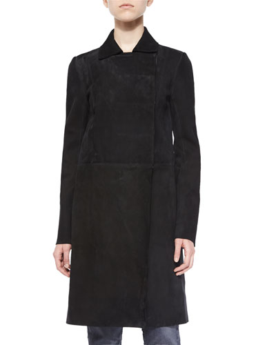 Collared Long Suede Coat