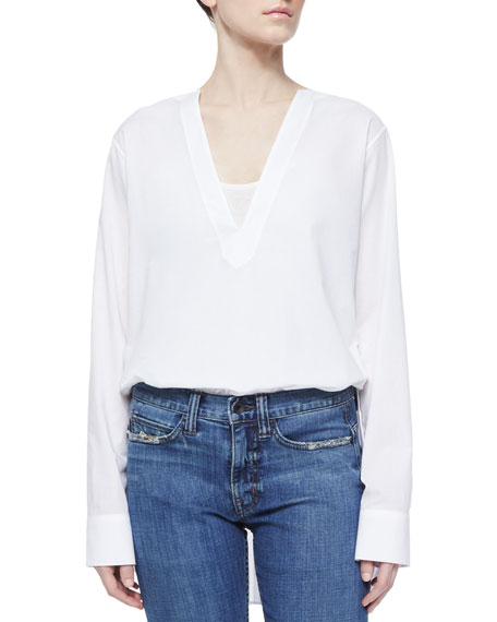 Helmut Lang V-Neck Long-Sleeve Tunic Blouse, White
