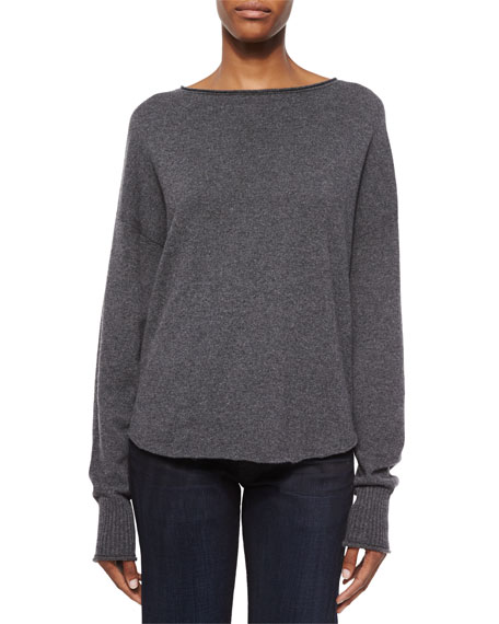 Helmut Lang Fine Gauge Cashmere Sweater, Charcoal