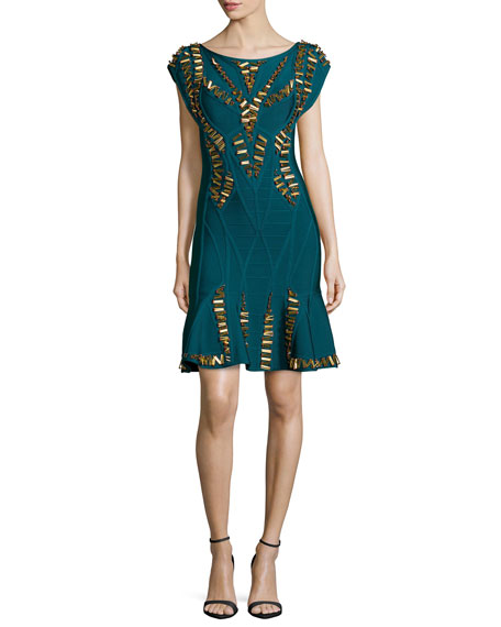 Herve Leger Embellished Flounce Bandage Dress, Slate/Teal Combo