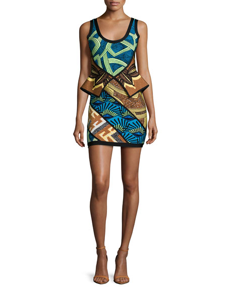 Herve Leger Geometric-Print Peplum Bandage Dress