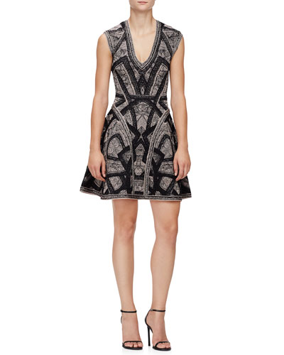 Sleeveless Jacquard Flounce Dress, Black Combo