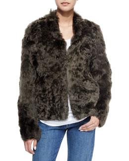 Silky Alpaca Fur Jacket, Olive