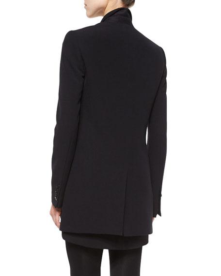 Pocket-Detailed Long Blazer, Black