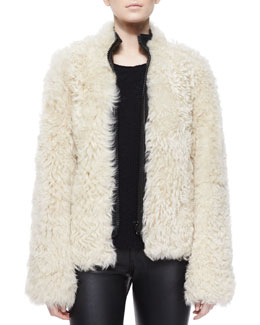 Shearling Fur Front-Zip Jacket