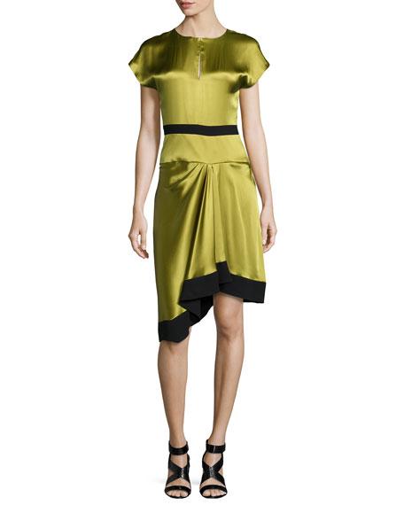 J. Mendel Short-Sleeve Two-Tone Dress, Peridot/Noir