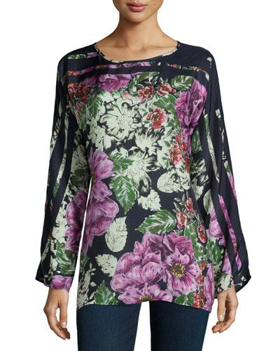 Long-Sleeve Floral-Print Silk Blouse, Petite