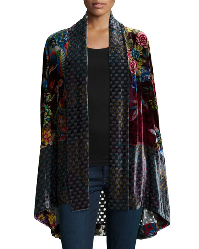 Dream Multi-Print Velvet Kimono Jacket, Women
