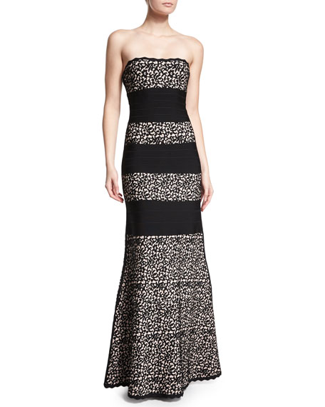 Herve LegerStrapless Fit-&-Flare Gown, Black Combo