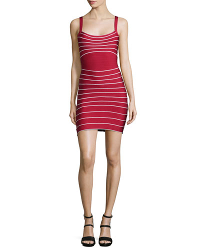 Micro-Striped Bandage Dress, Lipstick Combo