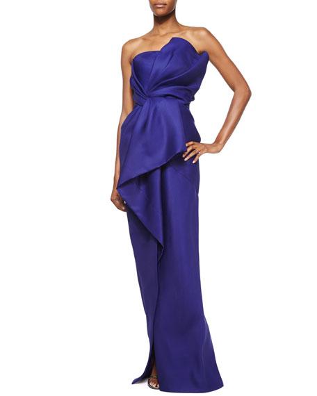 J. Mendel Gazaar Strapless Bustier Gown, Imperial Blue