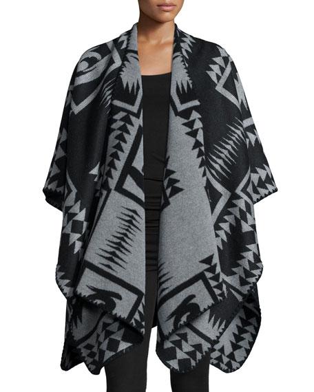 Velvet Draped-Front Poncho, Black/Gray